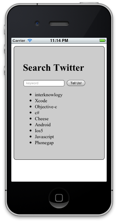 iPhone Simulator of Search Twitter