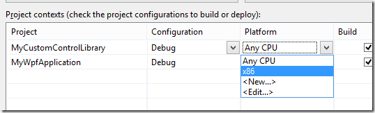 Option 1 for fixing the error: adding x86 configuration to referenced projects.
