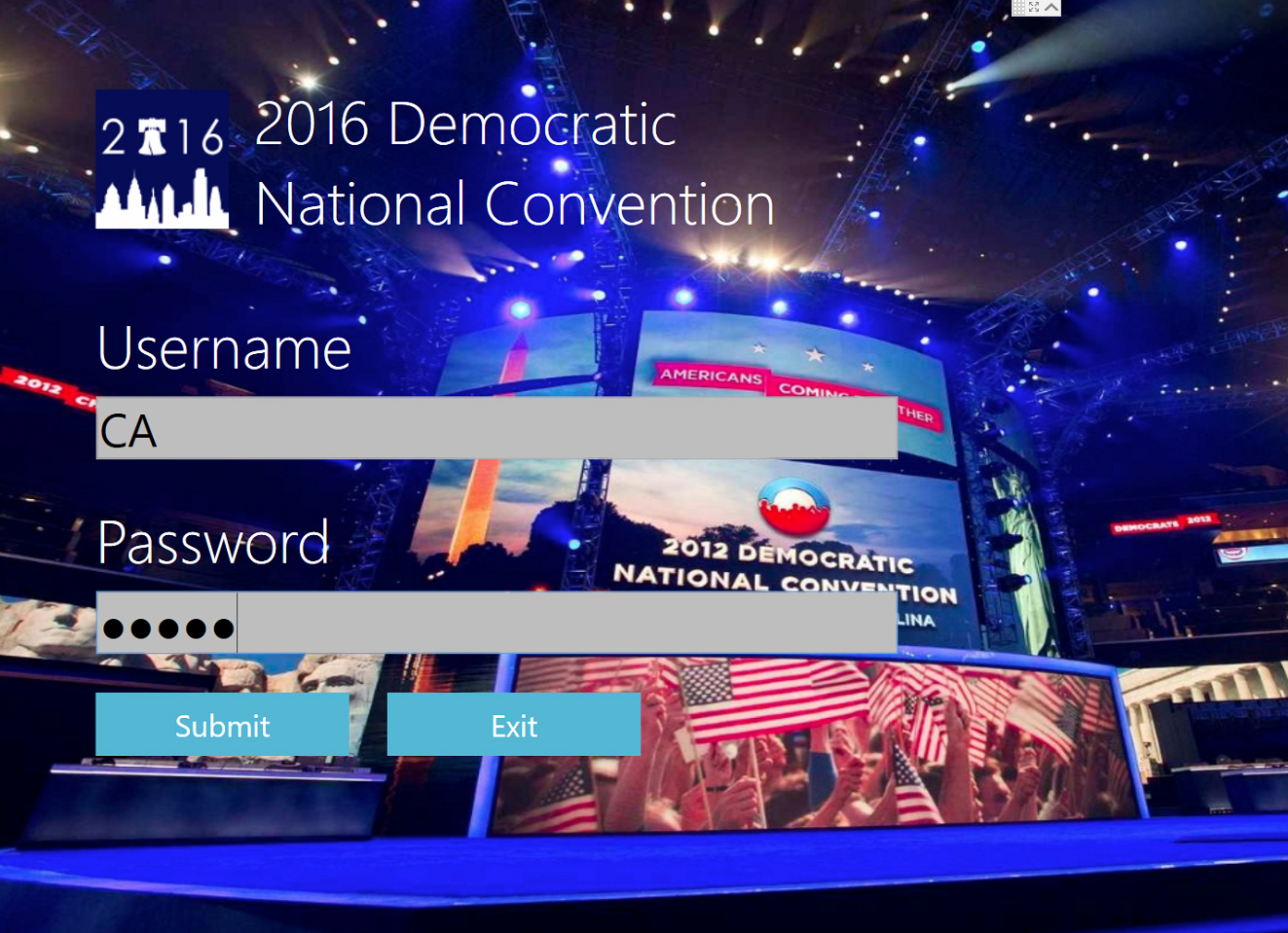 Democratic National Convention Voting App Log in